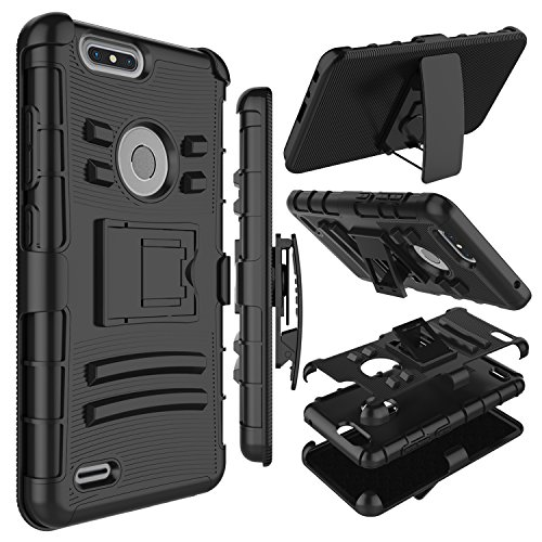 Zenic Compatible with ZTE Blade Z Max Case, ZTE ZMax Pro 2 Case, Heavy Duty Shockproof Full-Body Protective Hybrid Case with Swivel Belt Clip and Kickstand Compatible with ZTE Sequoia/Z982 (Black)