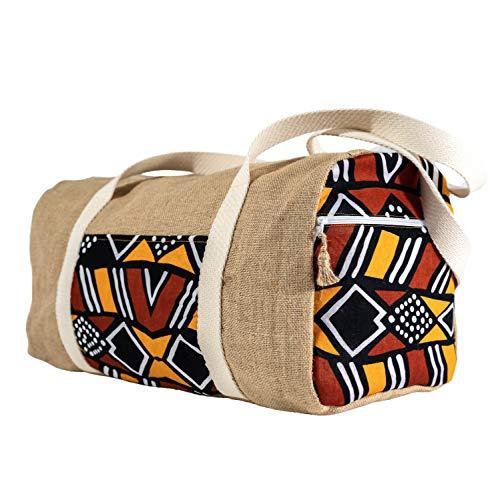 Poropango - Bolsa de viaje para equipaje de cabina de fin de semana deportiva de tela de yute y algodón ligero y flexible, para hombre y mujer, fabricada en Francia