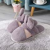 Piel de conejo, perro mecánico de dibujos animados, zapatillas de mujer para mantener el calor, zapatillas de algodón, zapatillas de interior para el hogar