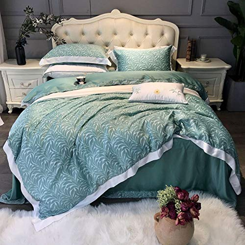 Yaonuli Beddengoedset, 4-delig, eenkleurig, dubbelzijdig, 1,8 m lang, groene zijden, voor bed met 1,8 m of 2,0 m, voor bed met vier sets (dekbedovertrek 220 x 240)