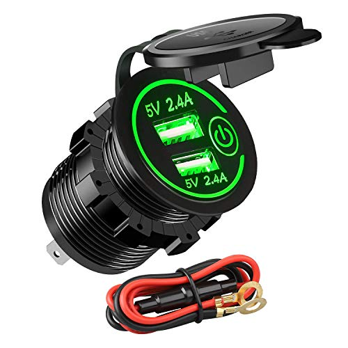12V 4.8A USB Car Socket Linkstyle 12v RV USB Outlet Touch Control ON/OFF, Dual USB Charger Socket Waterproof Power Outlet with Green LED Light for 12V Car RV Boat Marine Motorcycle Mobile