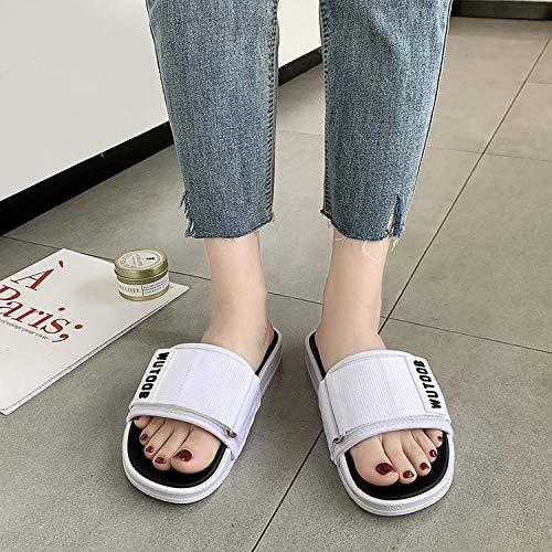 B/H Zapato de Velcro Zapato de Salud cómodo,Llevar Zapatos hinchados en los pies Durante el Verano,ensanchando Zapatillas Antideslizantes para Mujeres Embarazadas con diabetes-36_ Blanco