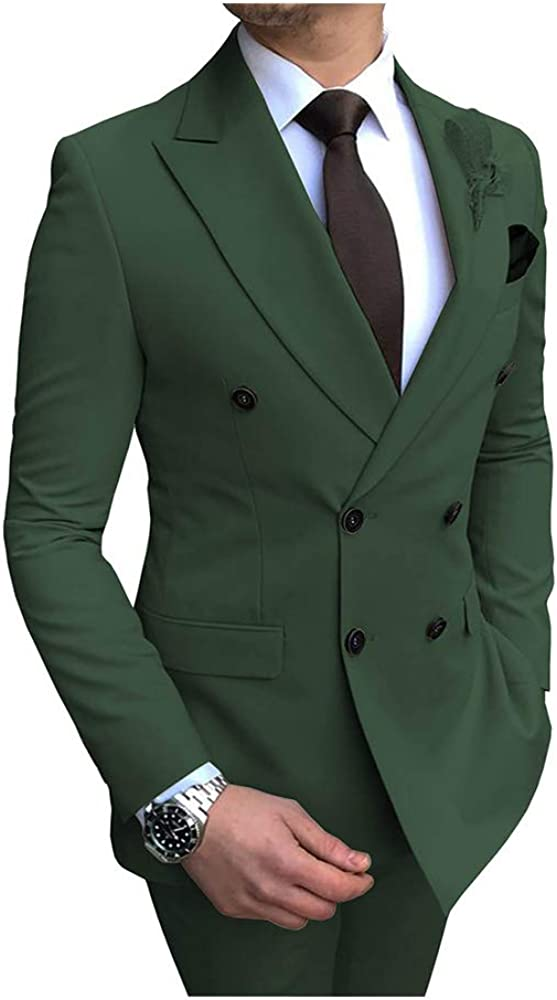 Blazer+Pants Mens Suits Slim Fit 2 Piece Tuxedos Casual Double Breasted Shawl Lapel Prom Groomsmen for Wedding