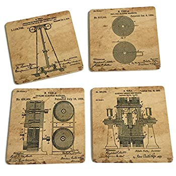 Original Tesla Patent Art Prints - Cork coasters for drinks - 4 x 4x 0.19  Set of 4 steampunk coaster - Great Gift for electrical engineer