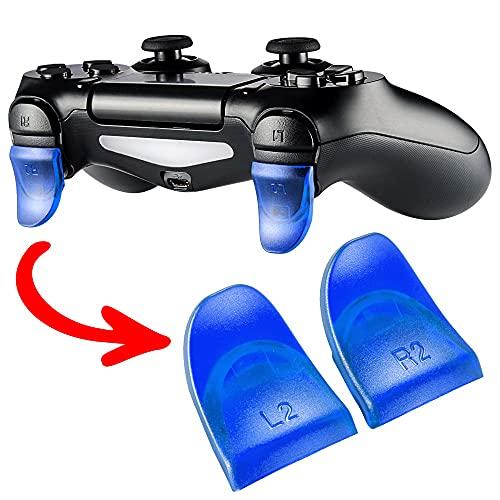 eXtremeRate 2 Paia Extension Trigger Grilletto Lungo Pulsante L2 R2 Tasti per PlayStation 4 Joystick-Compatibile con PS4 Controller CUH-ZCT1 JDM-030(Blu Trasparente)
