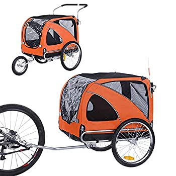 Sepnine and Leonpets Large Size Bicycle pet Trailer and Jogger of Orange Color 10202