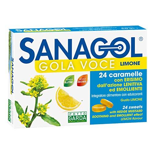 Sanagol Integratore Alimentare Gola você, Senza Zucchero, Multicolore, Limone, 24 Caramelle