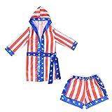 Boys Boxing Champion Costume Hooded Boxing Robe Set Kids Halloween Fancy Dress (American Flag Robe + Shorts, M)