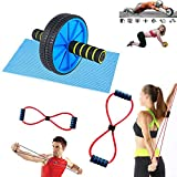 CONSONANTIAM AB Wheel Roller Abdominal Workout Stomach and Weight Loss Equipment with Chest Expander Rope Workout Pulling Exerciser Fitness Exercise Tube for Men and Women - Multi Color