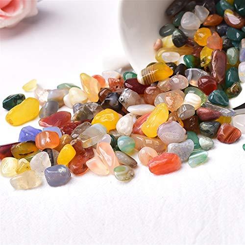 JINGGEGE 50g / 100g Natürliche Kristall Kies Probe Amethyst Home Decor Bunt für Aquarium Heilung Stein Rock Mineral Weihnachten DIY Geschenk (Color : Colour Agate, Size : 100g)