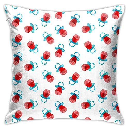 Funda de almohada, diseño de anillo de caramelo, color rojo, moderno, funda de cojín cuadrada, decoración para sofá, cama, silla, coche, 45,7 x 45,7 cm