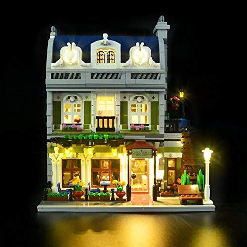 HLEZ Conjunto de Luces Lluminación para Restaurante Parisino Modelo de Bloques de Construcción, Kit de Luces Compatible con Lego 10243 (Modelo Lego no Incluido)