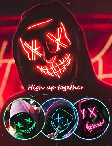 AnanBros Scary LED Halloween Mask, Masquerade...