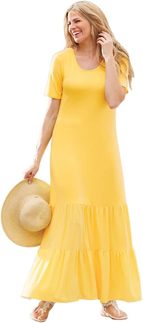 AmeriMark Women's Tiered Ruffle Bottom Maxi Dress Short Sleeve Long T Shirt Dress