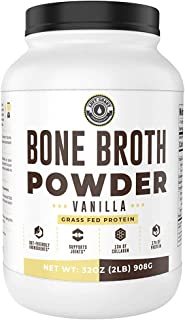 Bone Broth Protein Powder, Vanilla, Grass Fed, 2 lbs / 42 Servings (Large 32 oz Size) New Improved Formula. Low Carb, Keto...