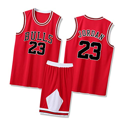 CXMY Jordan Men Basketball Jerseys Suits, Bulls 23# Sports Tops and Shorts Set, Adult Basketball Swingman Sportswear Quick-Drying Breathable-Red-L