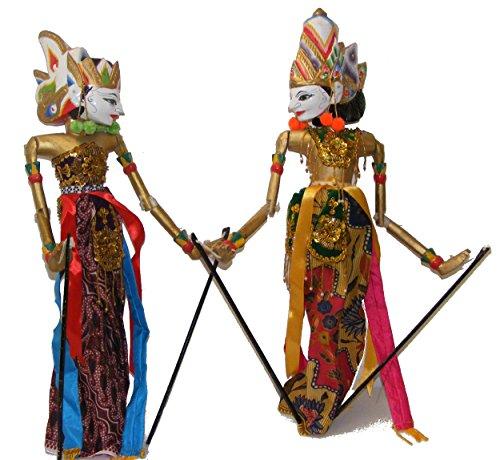 One World is Enough Rama und Sinta Wayang Golek Handpuppen, groß, 53 cm hoch