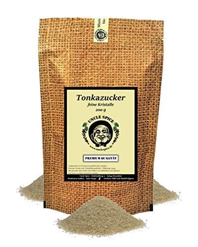 Uncle Spice Tonka Zucker - 200g feinster Tonka-Zucker mit Tonkabohnen - in Premiumqualität - Rohrzucker und Tonkabohnen aus kontrolliertem Anbau , 1a Qualität- Ideale Alternative zu Vanillezucker