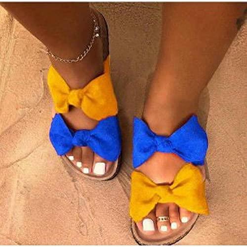 Chanclas de casa suave para interiores, zapatos de mujer de gran tamaño, zapatillas de fondo plano con lazo, color amarillo azul, 43, zapatillas de ducha para mujer