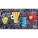 J&V TEXTILES Oversized 20'x36' Feel at Ease Anti-Fatigue Kitchen Mat (Coffee Cups Chalk)