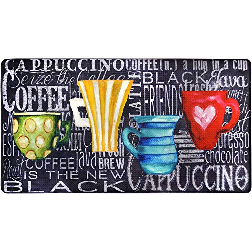 J&V TEXTILES Oversized 20x36 Feel at Ease Anti-Fatigue Kitchen Mat Coffee Cups Chalk