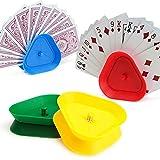 opamoo Soporte para Naipes ,4PCS Titular de La Tarjeta de Juego Soporte de Póker de Plástico Juego de Naipes en Forma...