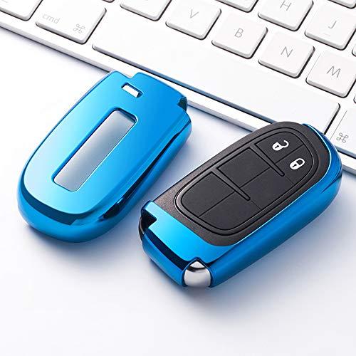 Topsmart Autoschlüssel-Schutzhülle/Schlüsselhülle aus TPU, Chrom-Finish, für Jeep Grand Cherokee Dodge Journey Dodge Dart Chrysler Dodge Challenger Dodge Charger Dodge Durango blau