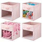 mDesign Juego de 4 cajas organizadoras de tela – Organizador de armario para ropa de bebé, mantas, etc. – Caja de almacenaje de lunares con asa y ventanilla – rosa/lunares blancos