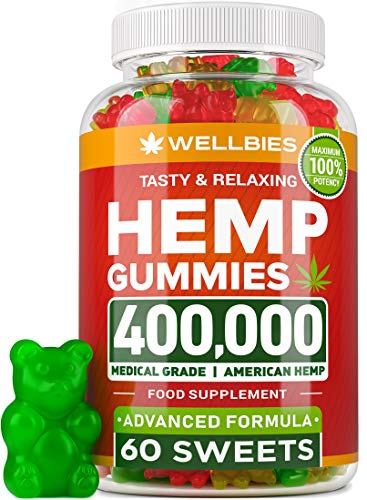 Premium Hemp Gummies - Natural Hemp - Made in USA - King Size 400,000 - Boost Memory Function, Improved Sleep, Support Good Mood - Fast Results - Vitamins B, E, Omega 3, 6, 9
