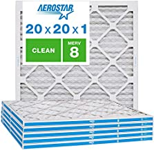 Aerostar Clean House 20x20x1 MERV 8 Pleated Air Filter, Made in the USA, 6-Pack,White