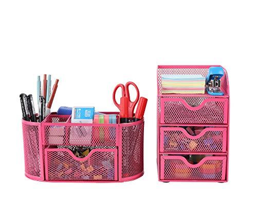 EasyPAG Schreibtisch-Organizer aus Netzstoff, 2-teiliges Set – vielseitiger Schreibtisch-Organizer und 3 Etagen, kleine Schublade, Aufbewahrungsbehälter, Pink