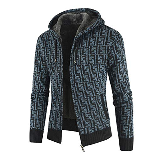 SLYZ Autumn and Winter Men's Plus Velvet Padded Cardigan Cotton-Padded Jacket, European Code Fashion Color Matching Hooded Sweater Blue