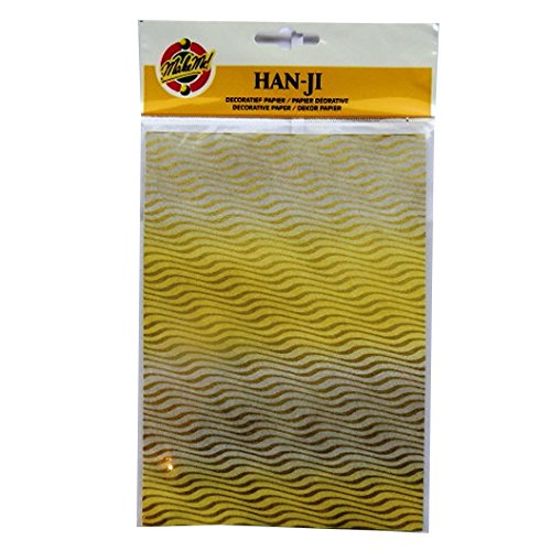 Handgefertigte Dekorative Koreanischen Han-Ji Maulbeerpapier - 2 Designs - Gold Wellen und Gold Stern - 3 Blatt von jeder - Größe 212mm x 151mm