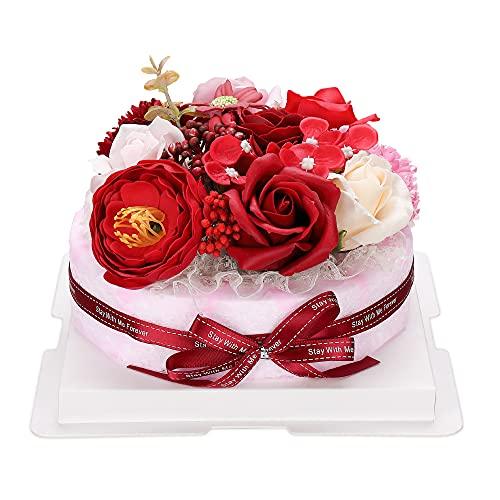 ソープフラワー ケーキー 誕生日 記念日 友達 母の日 プレゼント 造花 香り お祝い バラの花(レッド)