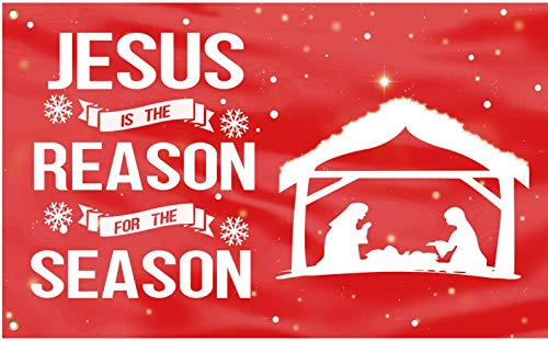 QOR Balance Christmas Jesus is The Reason for Season Nativity Manger Scene Flag Banner,Xmas Holiday Decor Gift Canvas Header Polyester Outdoor Decor with Brass Grommets 3x5 Ft