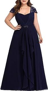 Ever-Pretty A-línea Vestido de Noche Encaje Escote Talla Grande Vestido de Fiesta para Mujer 07986