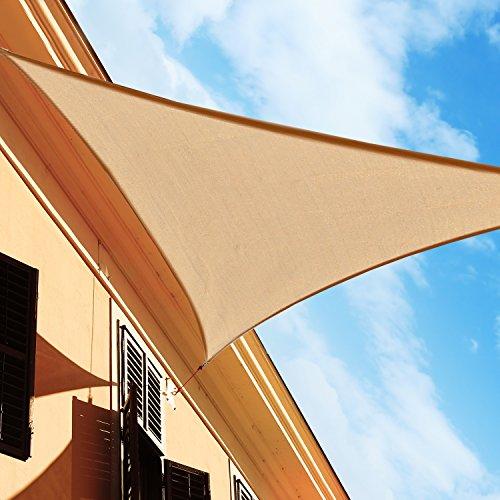 HOMCOM Outsunny Toldo Vela Color Arena sombrilla Parasol triangulo Tela de Poliéster Jardin Playa Camping Sombra Medidas, Medida 4x4x4 Metros, Color Arena