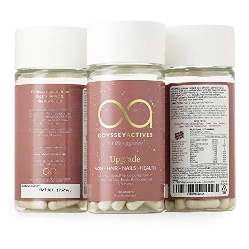 Marine Collagen Supplement with Vitamin C, E, Hyaluronic Acid, Iodine & Skin Vitamins. High Strength Biotin for Hair Growth. Premium Type 1 Hydrolysed Marine Collagen Hair, Skin, Nails Supplement