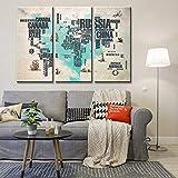 3 Piezas Lienzo Pintura,Impresiones En Lienzo 3 Piezas/Set,Moderno Pared Cuadros Decoración Hogar Sala Estar Dormitorio,Regalo Creativo,50Cmx70Cmx3 ( Marco) Imágenes Mapa Mundo La Letra Corazón Azul