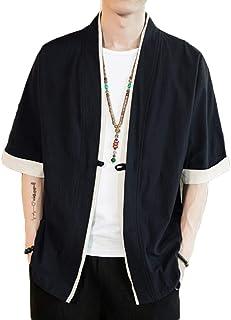 Mens Retro Chinese Style Cardigan Hanfu Coat Cotton Linen Blend Short Sleeve Jacket Kimono Outwear