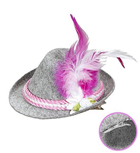 Panelize Trachtenhut Tirolerhut Minitrachtenhut blau oder pink Oktoberfest Bayrischer Abend (pink)