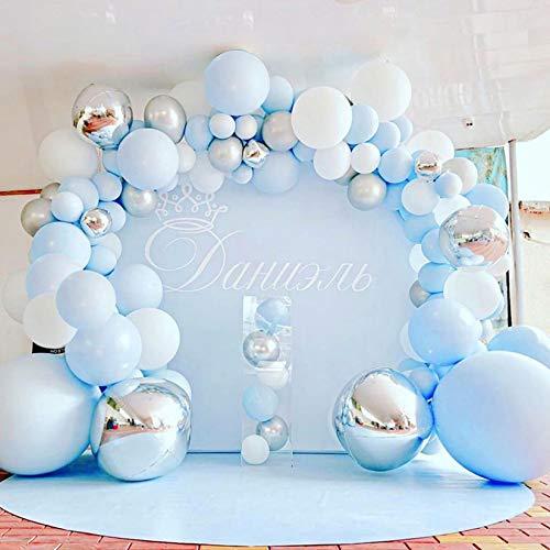 Juego de 112 globos azules de látex 4D de color azul, plata y blanco, globos plateados para baby shower, bodas, fiestas de cumpleaños (azul + plata)