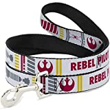 Buckle-Down Dog Leash Star Wars Rebel Pilot Rebel Alliance Insignia X Wing Fighter 6 Feet Long 1.0 Inch Wide