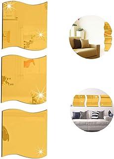 ZZKJXHJ azulejo Espejo Cuadrado Pegatinas de Pared, 3D Espejo Ondulado Pegatinas de Pared, Espejo Arte DIY Inicio Decorativo Espejo de acrílico, Decoración de la Pared,Gold