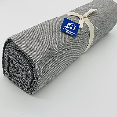 L'EMPORIO CASA Funda para sofá de tela gruesa robusta gris oscuro algodón de Panamá 160 x 260 – 260 x 280 – 360 x 280 cm Medidas Maxi sábana cubre todo Granfoulard Made in Italy (360 x 280)