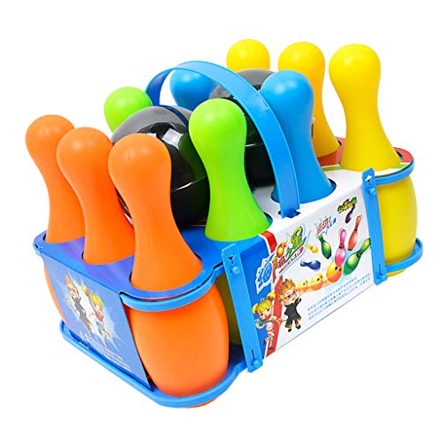 Fenteer 12pcs Kunststoff Bowlingkugel Bowling Spiele Kegelspiel pädagogische interaktive Spielzeug für Kinder ( 10 Pins + 2 Bowlingkugeln )