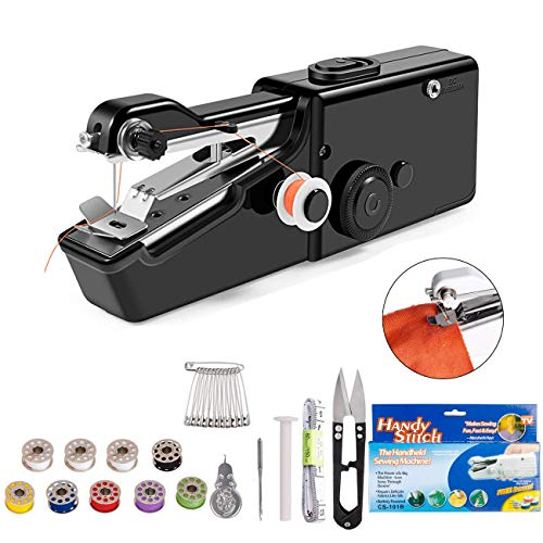 DUTISON Handheld Sewing Machine - Mini Cordless Portable Electric Sewing Machine - Home Handy Stitch for Clothes Quick Repairing with 24 Accessories-Black