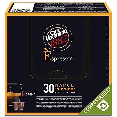 Caffè Vergnano 1882 Èspresso Capsule Caffè Compatibili Nespresso Compostabili, Espresso Napoli -8 confezioni da 30 capsule (totale 240)
