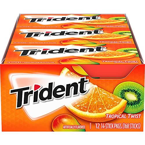Trident Tropical Twist Sugar Free Gum, School Lunch Box Snacks, 14 Pieces