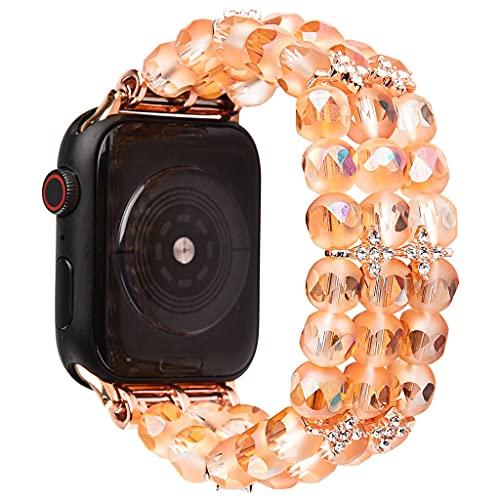 Bransoletka koralika. W przypadku zespołów Apple Watch Women 38mm / 42mm, Ręcznie robiony Elastyczna opaska do Iwatch Series SE / 6/5/4/3/2/1, Zroszony Stretch Opaska Stylowa Wymiana Pasek Urodziny Pr